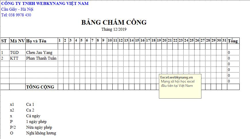 Bảng chấm công theo ca bằng excel