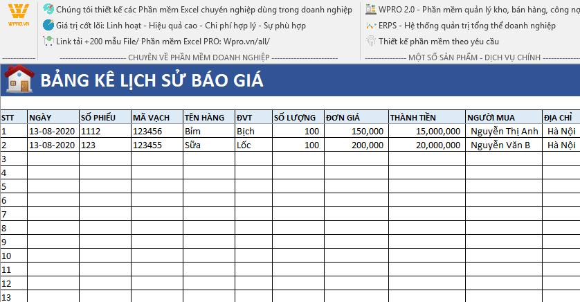 Phần mềm quản lý báo giá WPRO