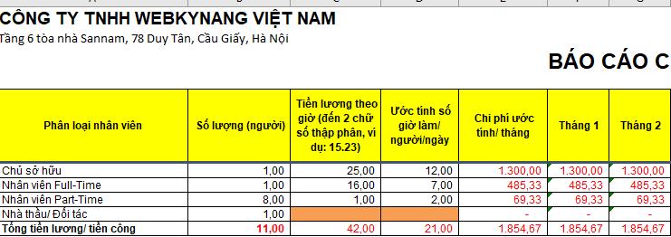 báo cáo chi phí lương đơn giản excel